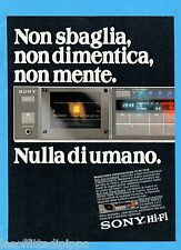 QUATTROR982-PUBBLICITA'/ADVERTISING-1982- SONY HI-FI TC-FX-1010 REGISTRATORE COM