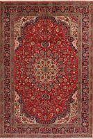 Pair of 2 Vintage Floral Tebriz Hand-Knotted Wool Area Rug Oriental Carpet 7x10