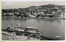 VINTAGE 1957 RPPC ~ Linz, AUSTRIA ~ DANUBE RIVER ~ BOATS ~ CITY VIEW