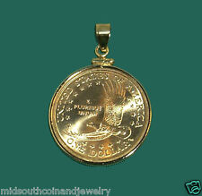 Coin Jewelry Pendant 2000 SACAGAWEA EAGLE Dollar Coin 14K Gold Filled Bezel NEW