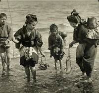 Japanese Mothers & Children on a Fishing Trip Keystone Stereoview Card