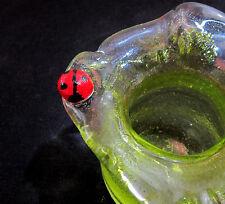 LIME GREEN Hand Blown Original LADYBUG Art Glass TOOTHPICK HOLDER Oregon USA