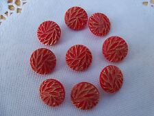 9 VINTAGE CARVED RED GLASS GOLD LUSTER SCHWANDA BUTTONS SEW KNIT CRAFTS NOS 12mm