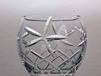 HEAVY LEAD CRYSTAL CUT GLASS SERVING BOWL