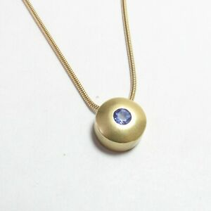 Estate 18K Yellow Gold 0.30 Ct Natural Indigo Blue Tanzanite Pendant And Chain