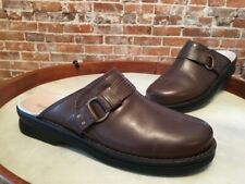 Clarks Taupe Leather Patty Lorene Slip On Mule Clogs New