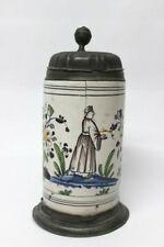 Original Barock Krug Fayence Walzenkrug Chinese mit Blumen F.C.T. 1772