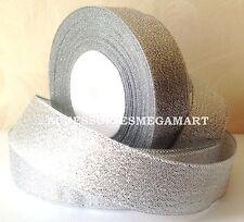 10m Argento Metallizzato Nastro In Organza 2.5cm ampiezza 24mm unilaterale
