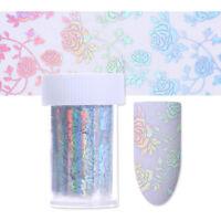 Holographische Nagel Folien Rose Blume Laser Nail Art Transfer Aufkleber Dekor