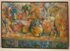1959 LESTER SCHULTZ LISTED AMERICAN SIGNED ABSTRACT STILL LIFE ORIGINAL O/C