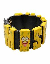 RARE! MOSCHINO COUTURE JEREMY SCOTT SPONGEBOB Yellow Leather Bracelet CUTE
