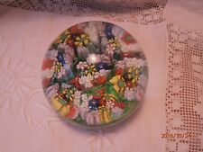 "Millefiori Paperweight 3"" Glass Blue Yellow Orange Pink Green Flower Canes Multi"