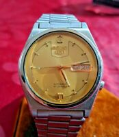 VINTAGE SEIKO 5 MEN'S WATCH - Gold Dial - MECHANICAL - AUTOMATIC - DAY DATE