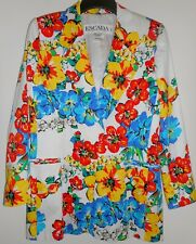 ESCADA Jacket Size 10 40 White Cotton Pansy Poppy Flowers Red Yellow Blue Green