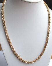 Beau collier maille pleine chaîne torsadée couleur or bijou vintage 5079