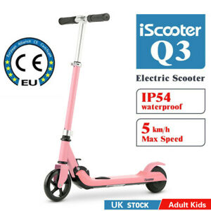 iscooter Kids Electric Scooter Folding Bike 7-14 Battery Adjustable Height PU UK