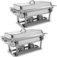 2 Packs Chafing Dish 9 Quart Stainless Steel Rectangular Chafer Full Size Buffet