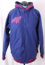 Neff Wool Hooded Letterman Zip Varsity School Striped Jacket Coat Men's L