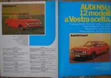 BROCHURE AUDI 100 COUPE S  GL LS 60 L VARIANT NSU RO 80 1000 1200 C PRINZ 4 1972