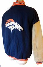 BRONCOS embroidered patch LEATHER Letterman jacket large denver football jersey