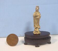 Metal miniature Buddha Kwan Yin on display wood stand collectable decor ee