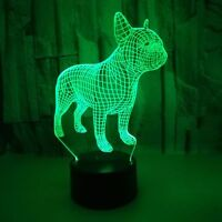 French Bulldog 3D LED Night Lamp 7 Colors USB-Hologram Decor Table Desk Light