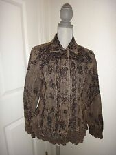 URBAN TRIBE~Womens Brown Embellished Denim Jean Jacket~COTTON~Made in INDIA~Sz S