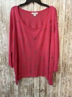 Women's Plus Size 2X Liz Claiborne Pink 3/4 Sleeve Blouse EUC