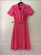 Ladies Vintage Triangle Print Pussy Bow Pink Dress Size 12