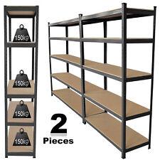 2 Bays Warehouse Industrial Rack 5 Tier Heavy Duty Boltless Rack Shelving Shelf