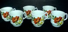 BRITISH ANCHOR CHARTWELL  Staffordshire Red / Yellow Roses Coffee Cups x 6 c1960