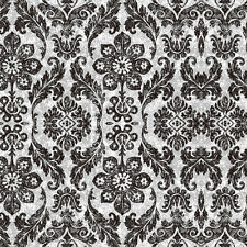 Damask Distressed Peel Stick Wallpaper Black/Mushroom Self Adhesive ContactPaper
