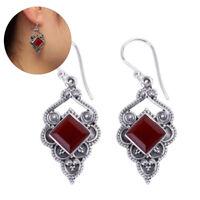 Women Silver Ruby Earrings Red Agate Dangle Hook Earrings Wedding Jewelry Hot