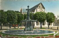 Carte ORLEANS Place Gambetta L'église Saint Paterne La fontaine au centre