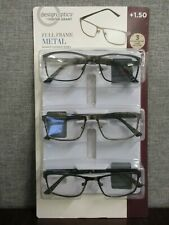 Design Optics By Foster Grant Eli Full Rim Metal Reading Glasses- 3 PACK  +1.50
