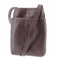 GUCCI Guccissima Shoulder Pouch Bag Dark Brown Leather Vintage Auth #AB926 S