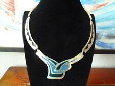 Vintage 80er Mexiko Indianerschmuck Silber Collier mit Intarsien