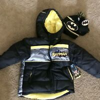 Boys Batman Coat Hat & Mittens Set SZ 4T NWT