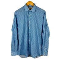 Ted Baker Endurance Mens Button Up Shirt Size 15.5 (Medium) Blue Paisley Retro