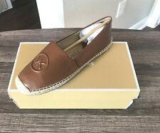 Women Sz 9 MK Michael Kors Dylyn Espadrille Slip On Flat Leather Luggage Shoe