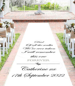 Personalised WEDDING AISLE RUNNER. Church/Venue Carpet Decoration. 15ft - 30ft