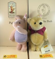 75th ANNIVERSARY STEIFF POOH BEAR & PIGLET MOHAIR MINT WITH TAGS AND BOXES L.E.