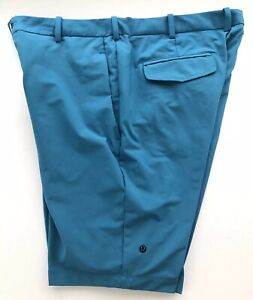 """Lululemon Mens Casual Golf Shorts Teal Athletic 100% Poly Flat Front 40w x 12"""""""
