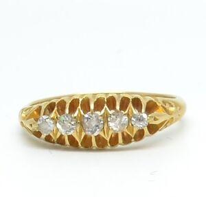 Dazzling Edwardian 18ct Gold Diamond 5 Stone Ring - 1905