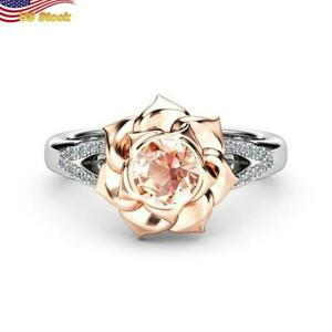 Two Tone 925 Silver Rose Gold Plated Ring Women  jewelry Rose flower US 6-10