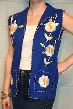 S~M Vtg 70s Embroidered Blue Wool Felt Floral Ethnic Hand Crafted Boutique Vest