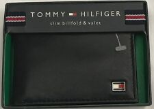 New Tommy Hilfiger Men's Leather Slim Billfold & Valet Wallet Black Color $13.50