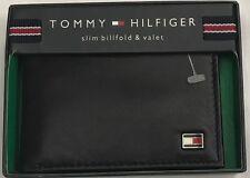 New Tommy Hilfiger Men's Leather Slim Billfold & Valet Wallet Black Color $13.50