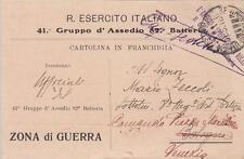 A6592) WW1 FRANCHIGIA PRIVATA 41 GRUPPO D'ASSEDIO 82 BATTERIA.