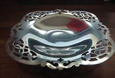 16cm Silver Plated Square Presentation Bowl - 5cm tall with filigree corners